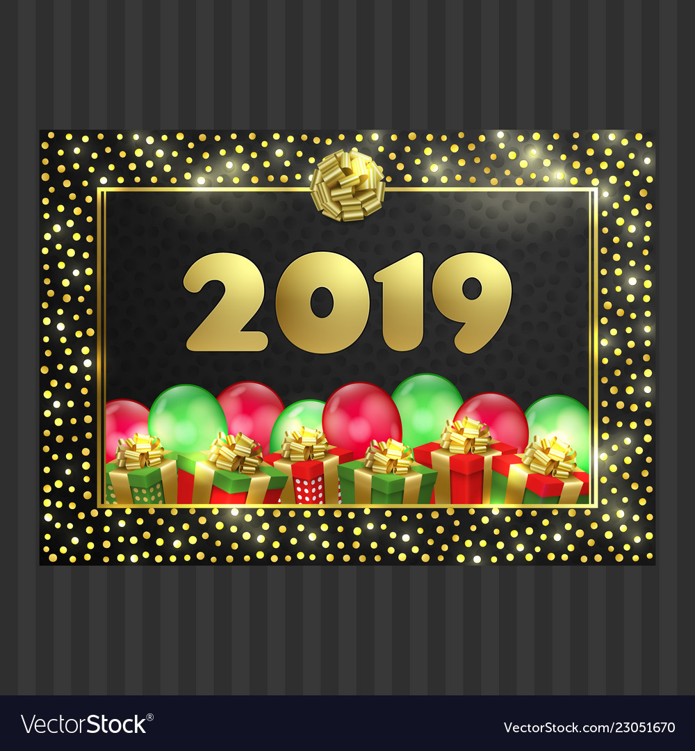happy new year christmas card gift box balloons vector image
