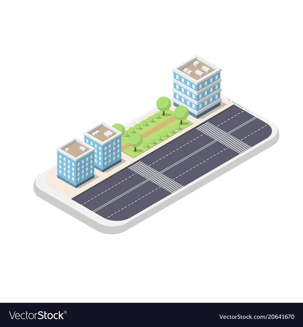 Isometric phone and city