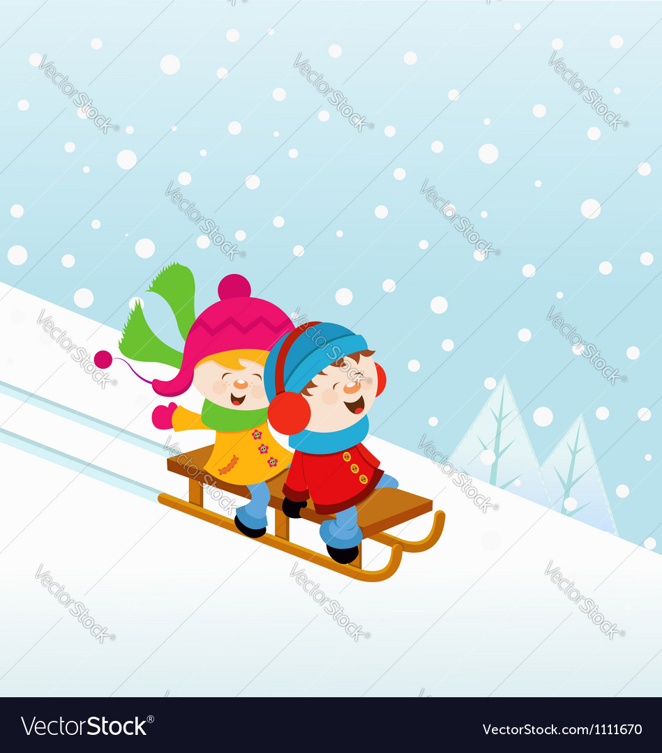 Kids On Sledge vector image