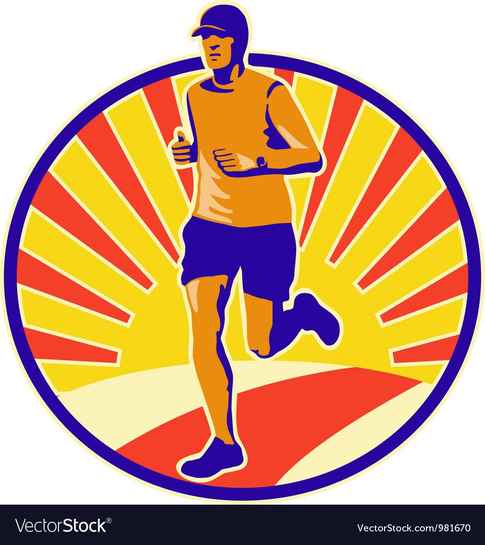 Marathon Runner Athlete Running Vector Image