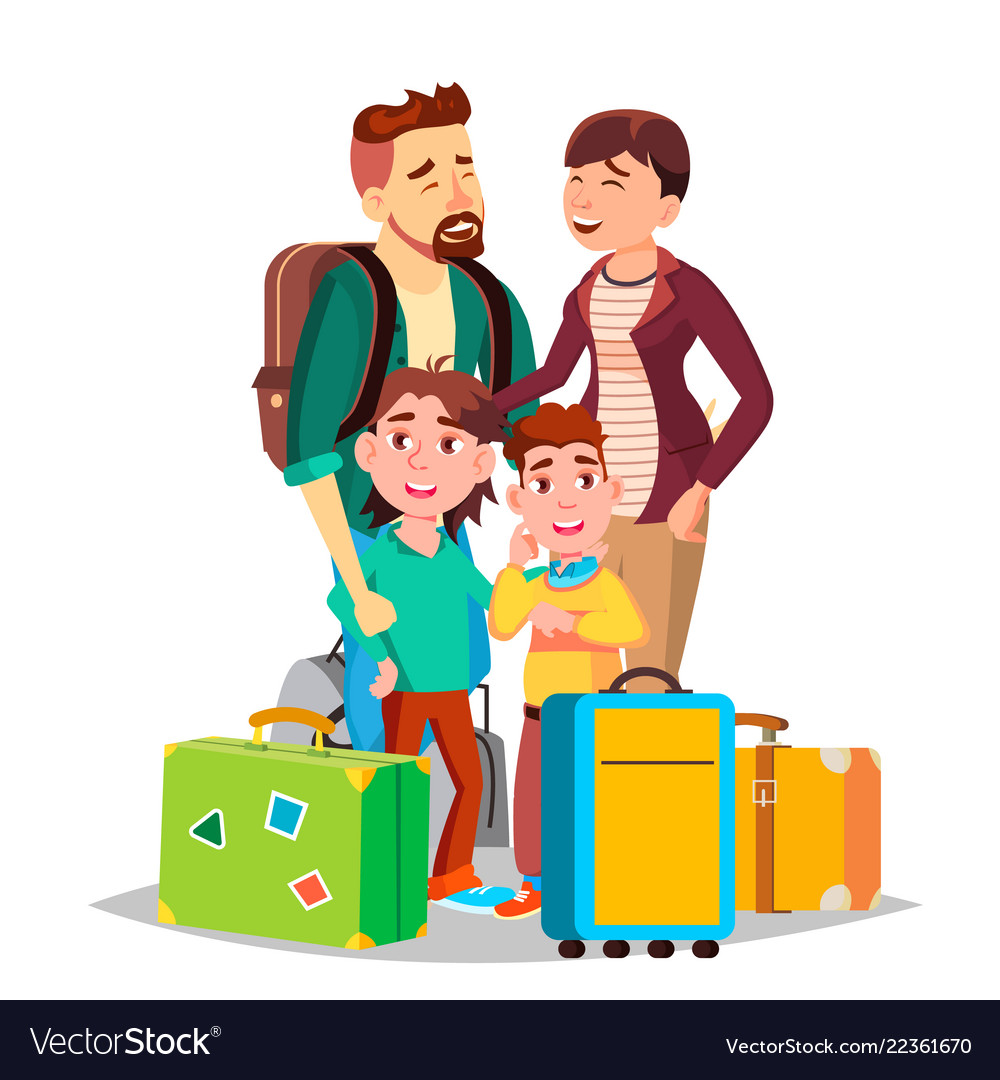 Parents and children traveling with suitcases
