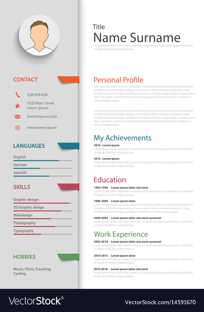 Professional Resume Cv With Colored Bookmarks Vector Image