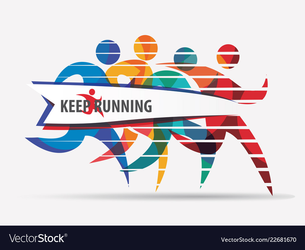 Running people set of stylized silhouettes sport