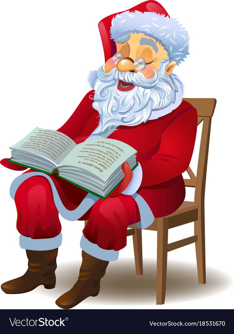 Santa Claus Reading The Book Royalty Free Vector Image