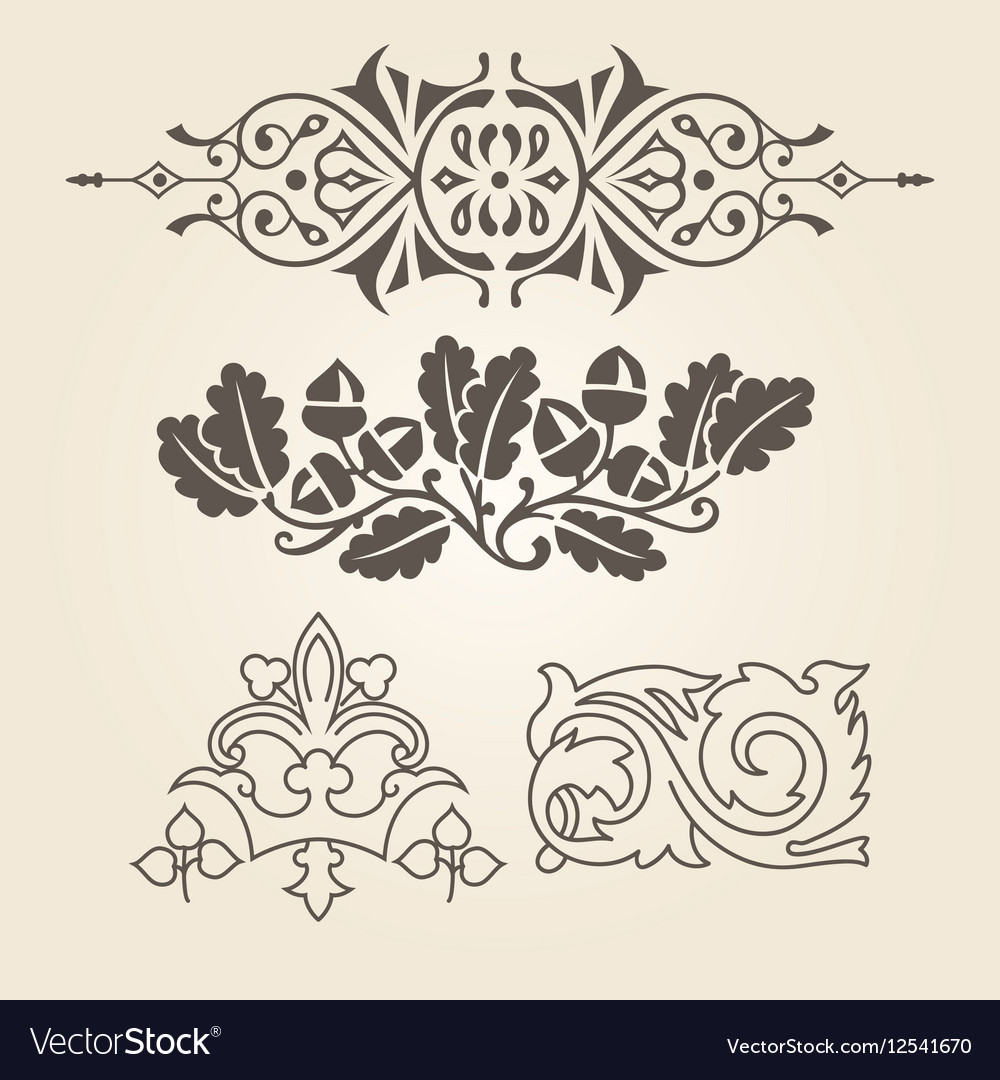 Set of antique decorative elements vector image