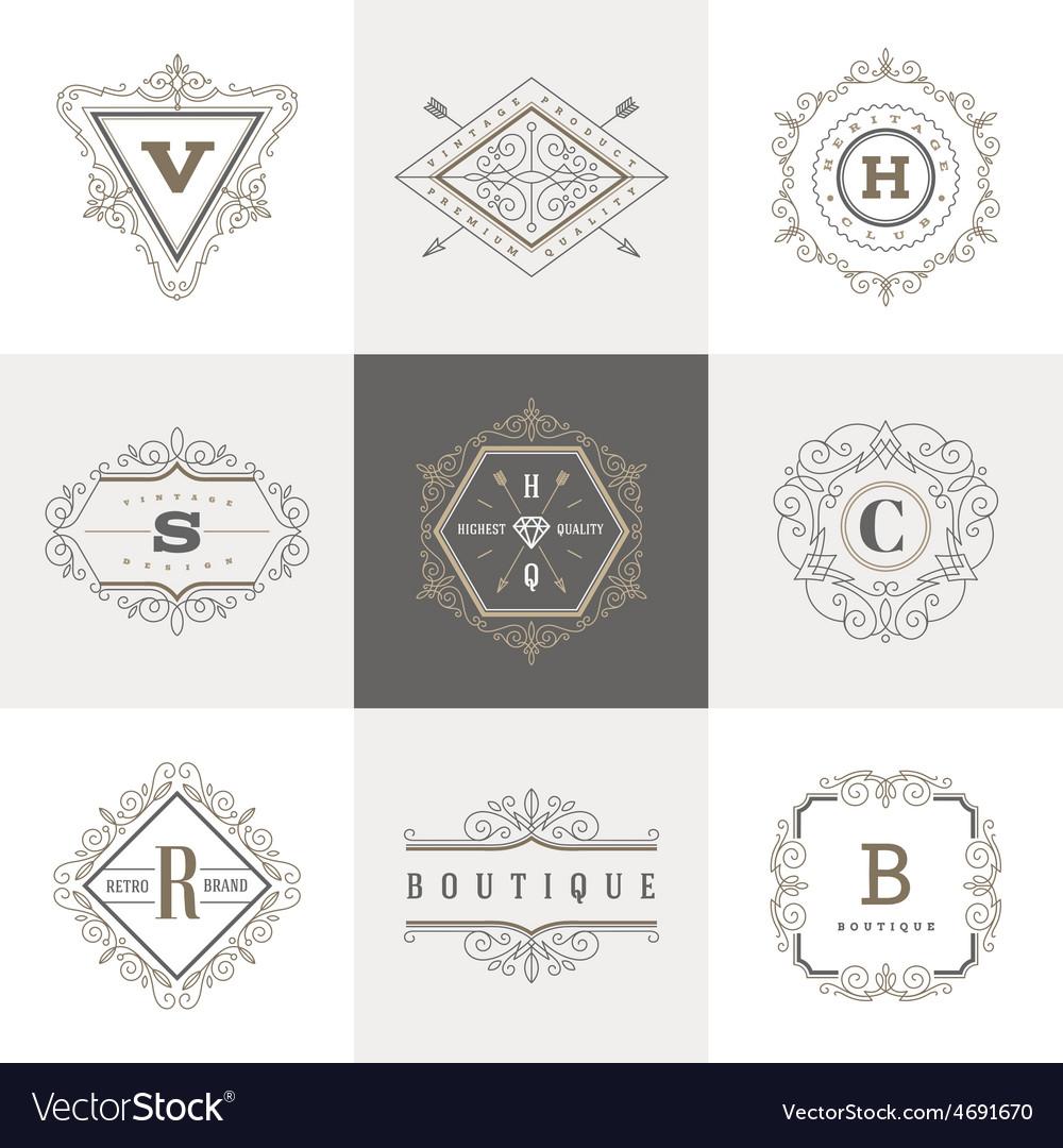 Set of Monogram flourishes logo vector image