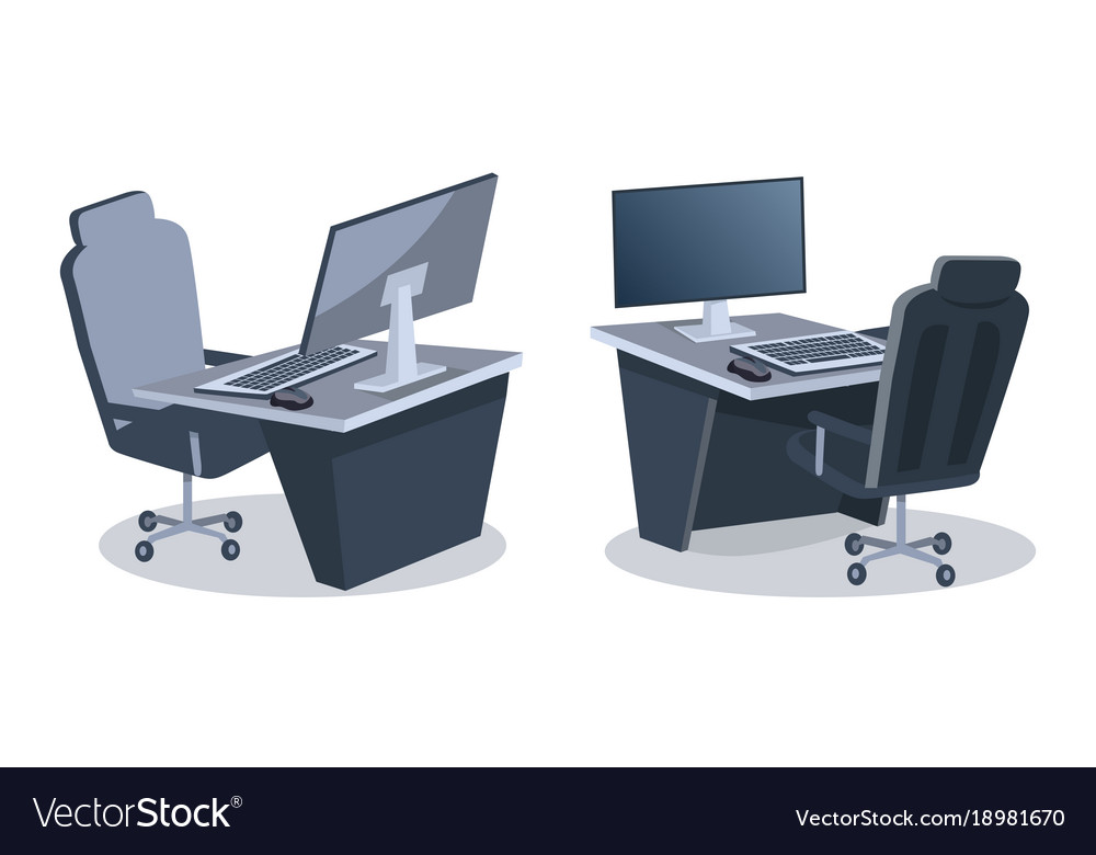 Two Desks With Computers Royalty Free Vector Image