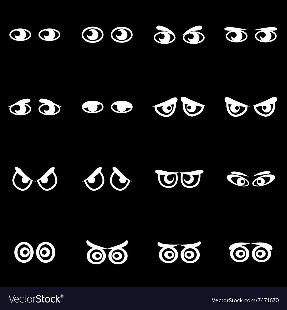 White cartoon eyes icon set