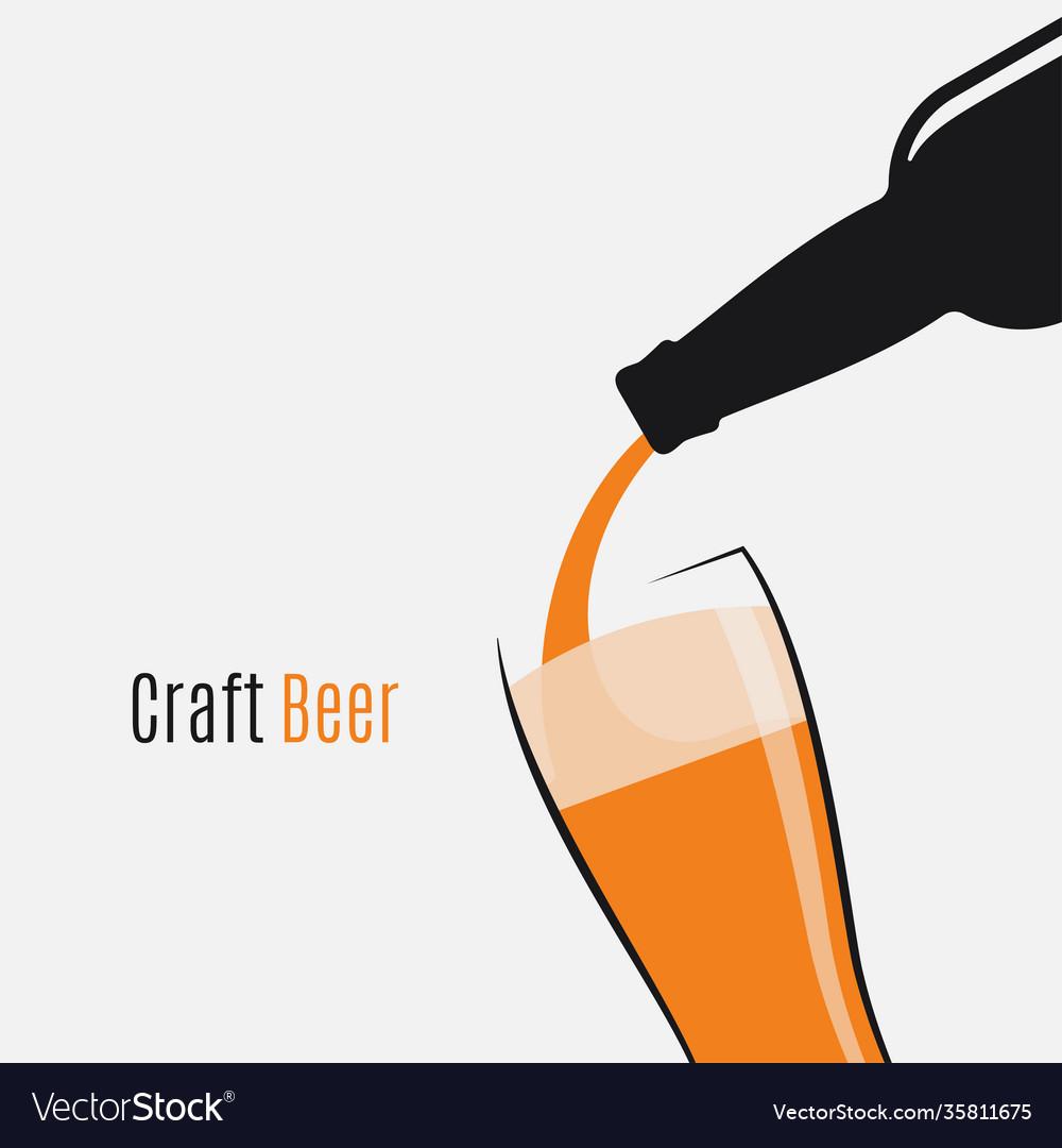 Beer bottle logo beer glass and bottle on white