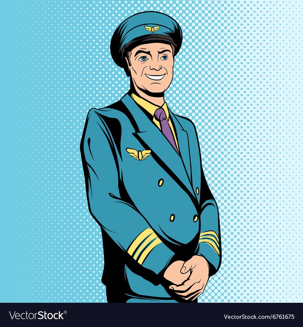 Comics flight captain vector image