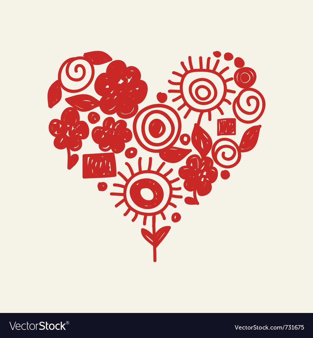 Cute doodle heart