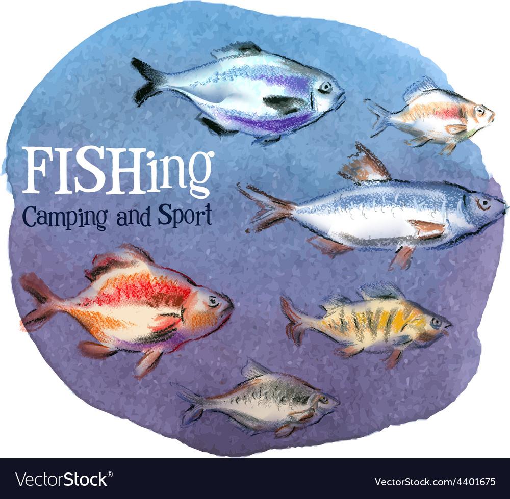 Fishing logo design template fresh fish or