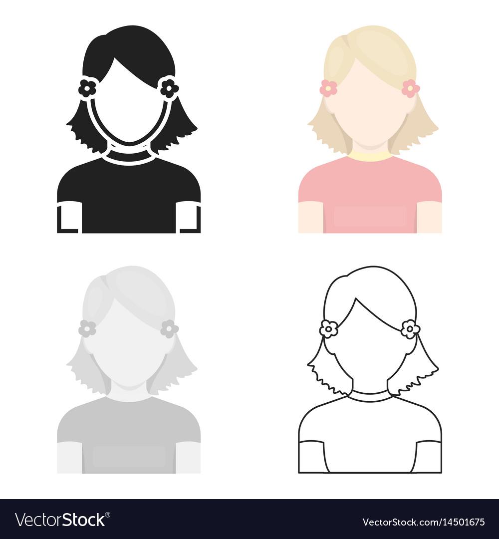 Girl icon cartoon single avatarpeaople icon from vector image