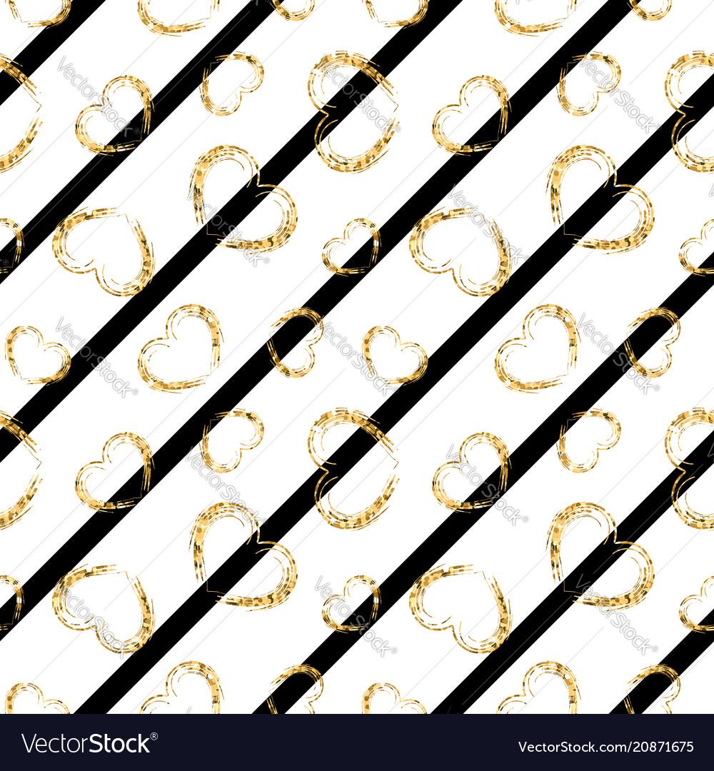 Gold heart seamless pattern black-white geometric