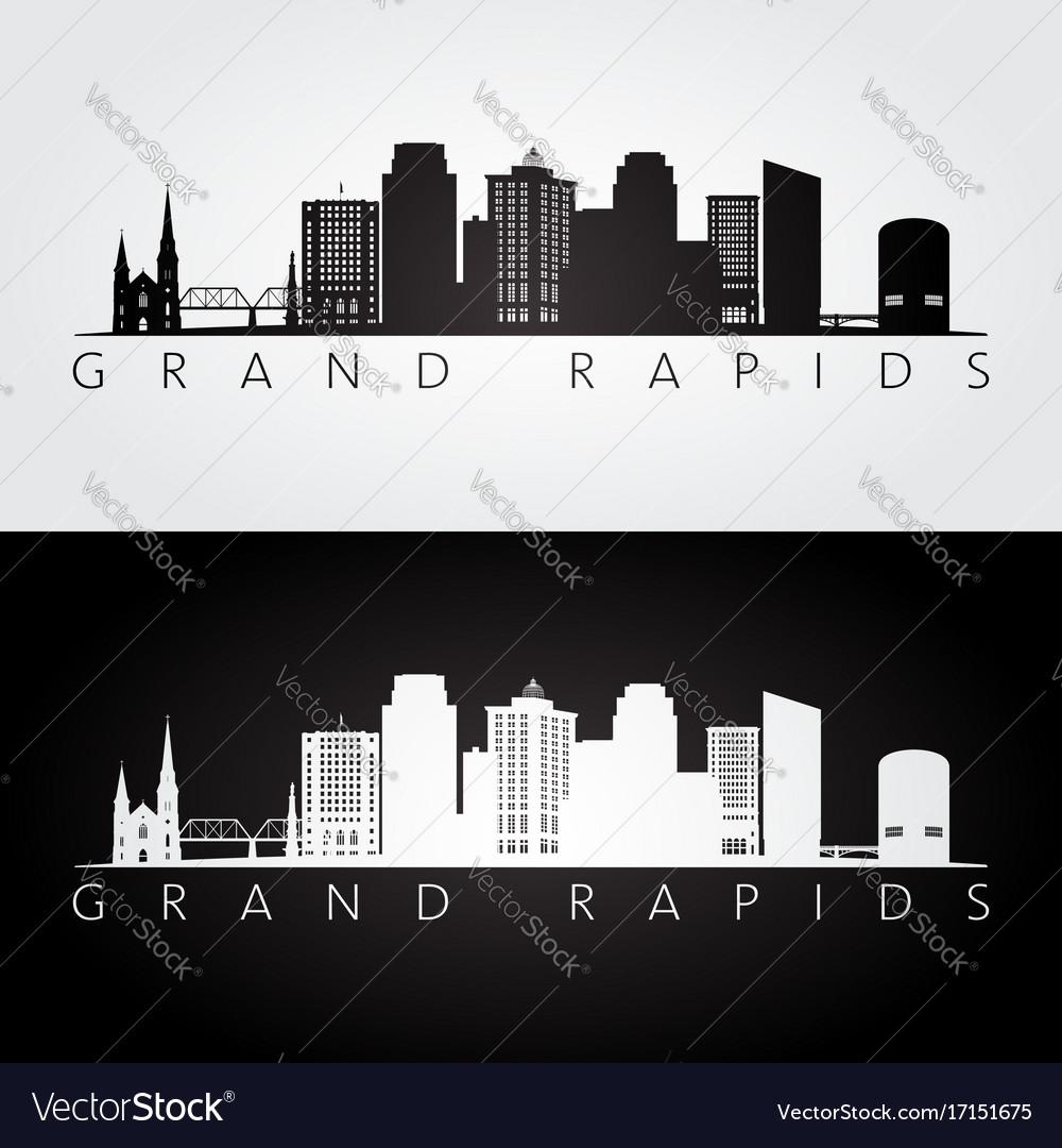 Grand rapids usa skyline and landmarks silhouette