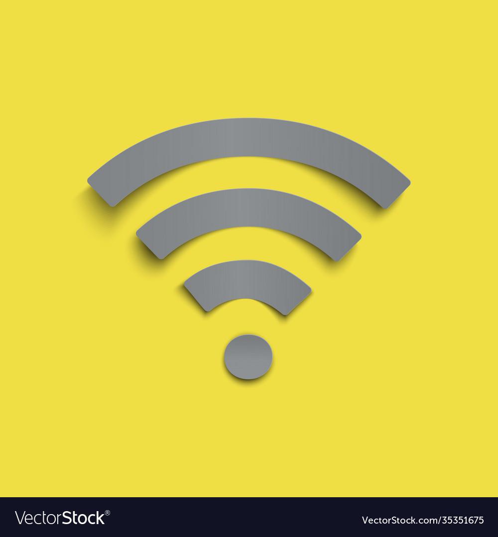 Grey paper stile wifi icon on yellow trendy