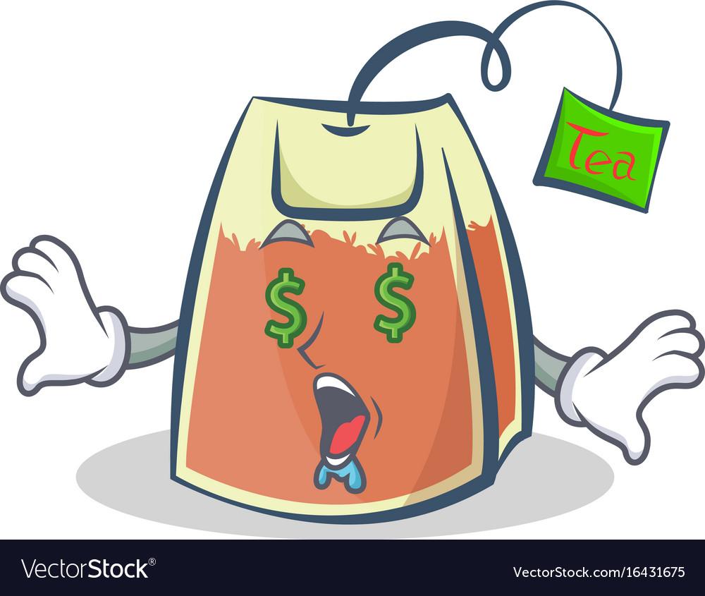 Money eye tea bag character cartoon art
