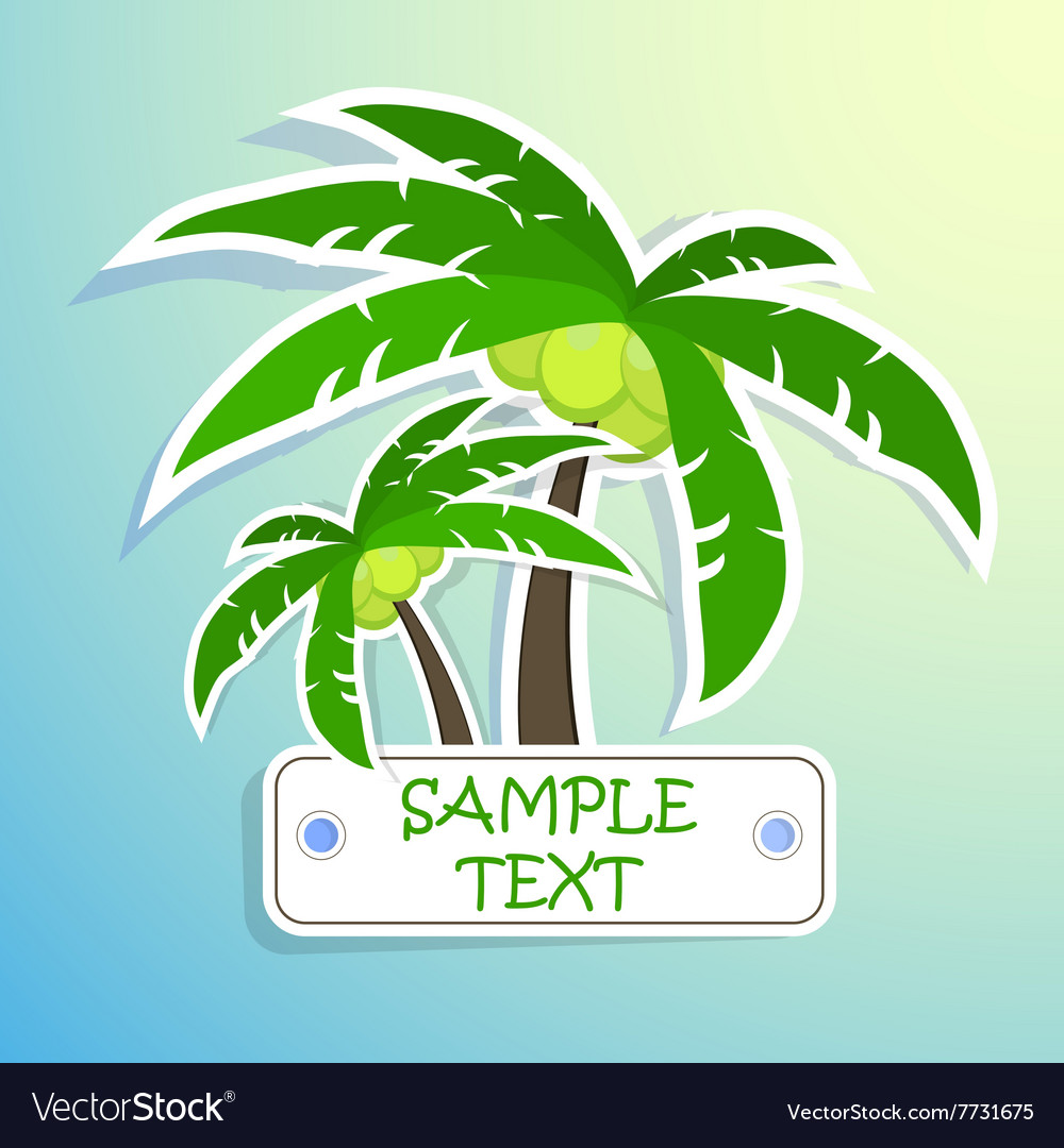 Realistic paper sticker palm Isolated