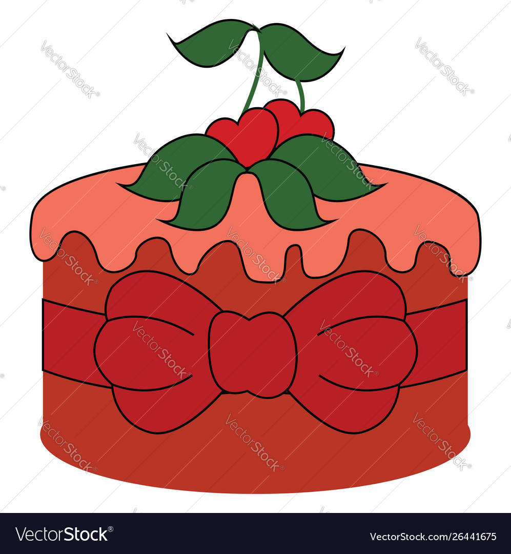 Red cake with cherry on white background