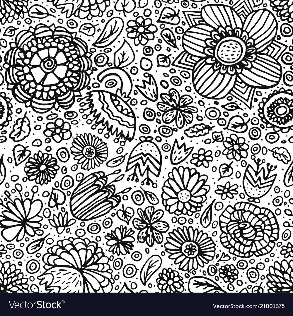 Seamless flower pattern hand drawn