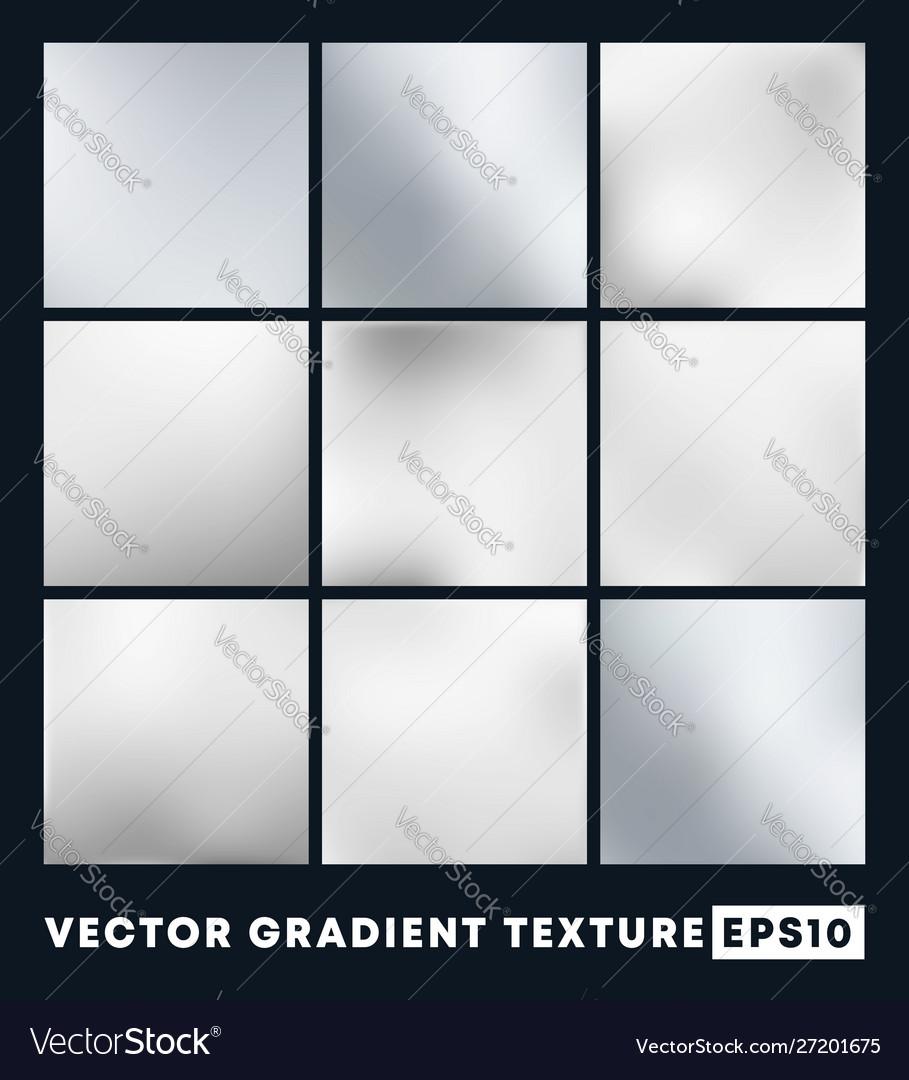 Set silver gradient texture pattern background