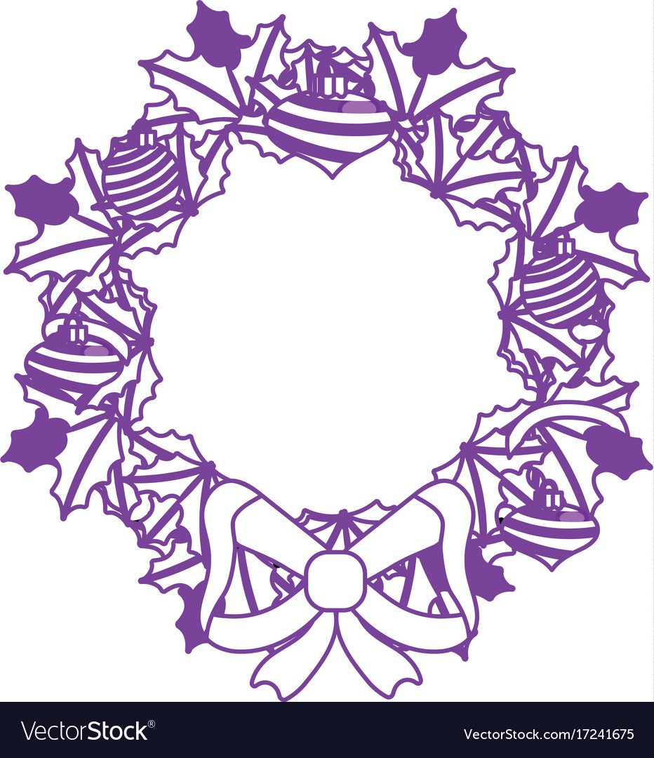 Christmas Wreath Silhouette Vector.Silhouette Christmas Wreath Garland With Christmas