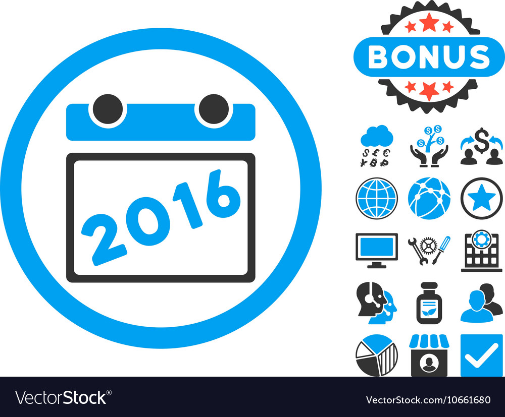 2016 Calendar Flat Icon with Bonus
