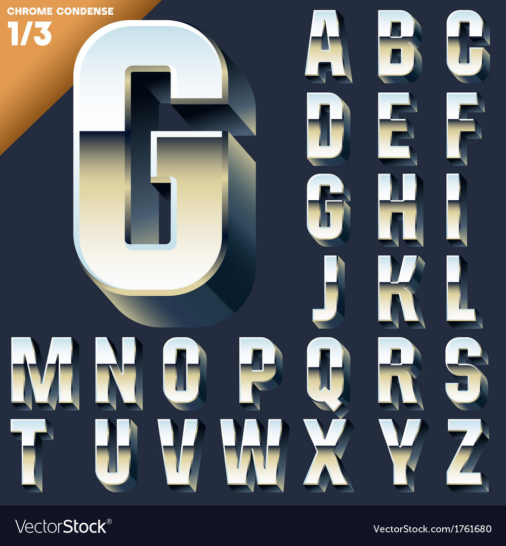 alphabet of simple 3d letters royalty free vector image