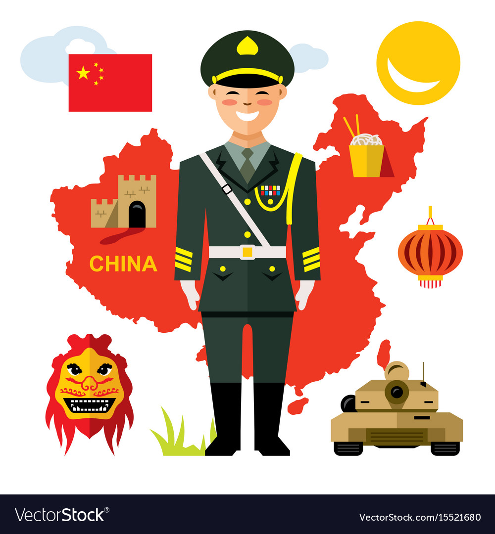 Army of china flat style colorful cartoon