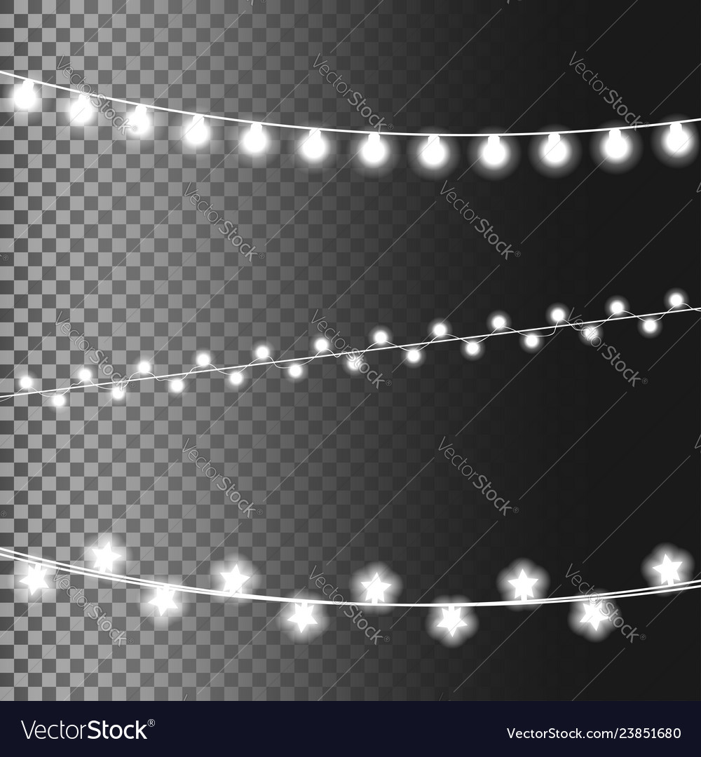 Christmas glowing lights isolated on transparent