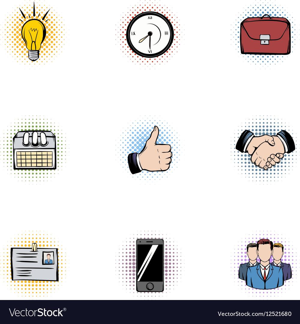 Corporation icons set pop-art style vector image