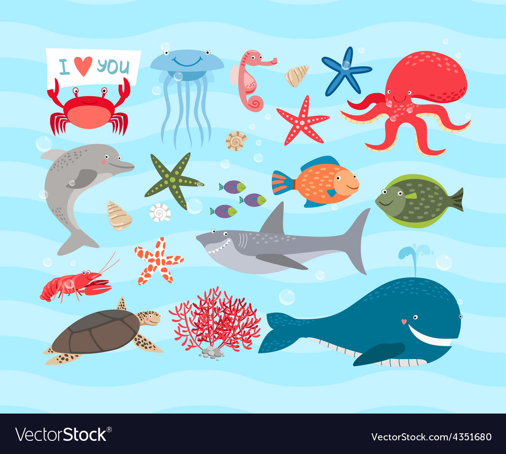 Cute sea animals Dolphin and whale