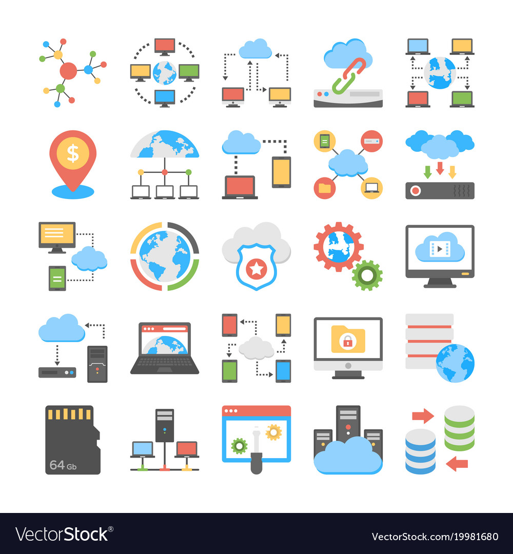 Data storage and web hosting flat icons vector image