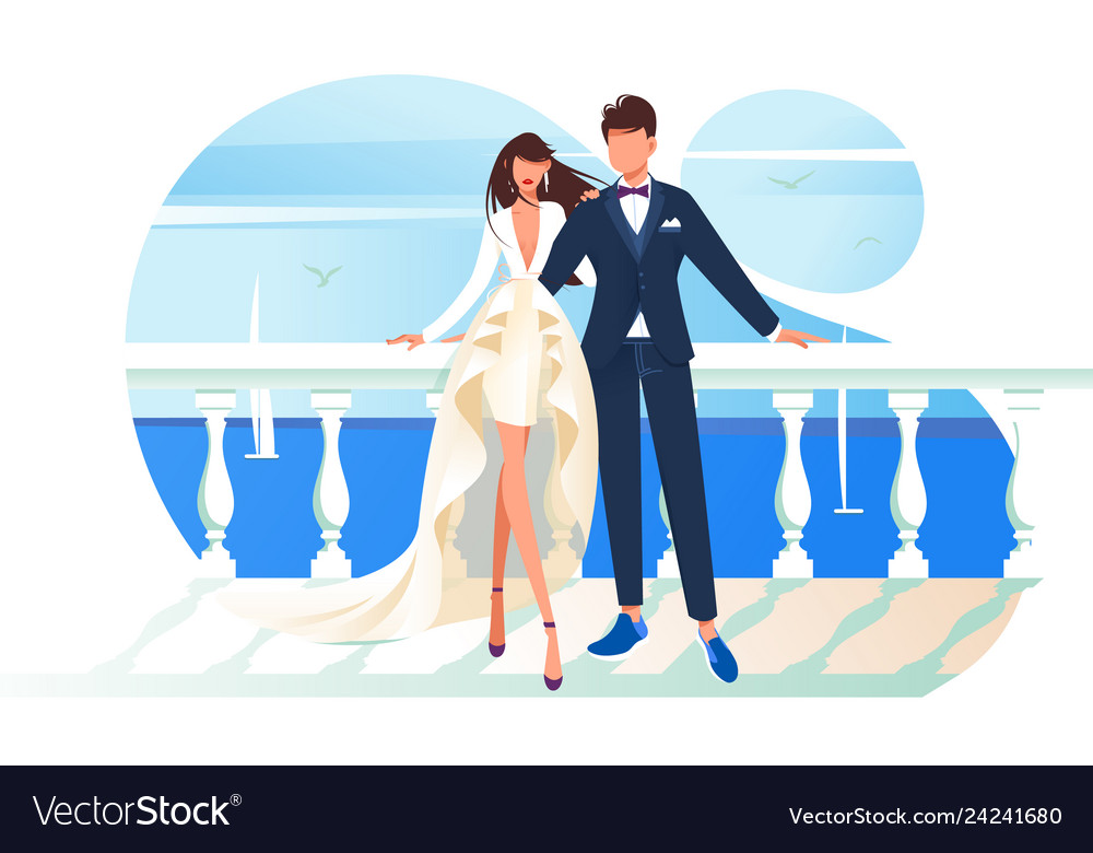 Flat bridal frame with woman bride and man groom