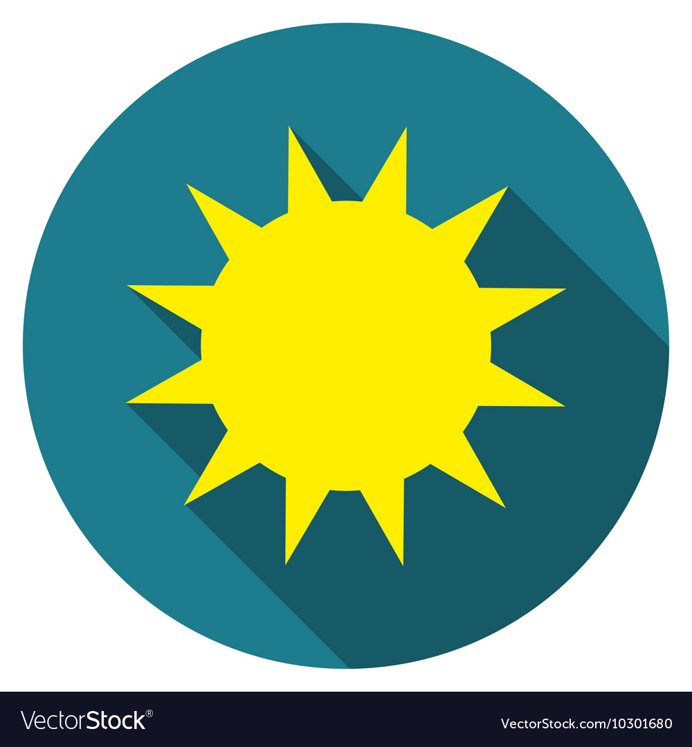 Flat design Sun icon with long shadow isolated
