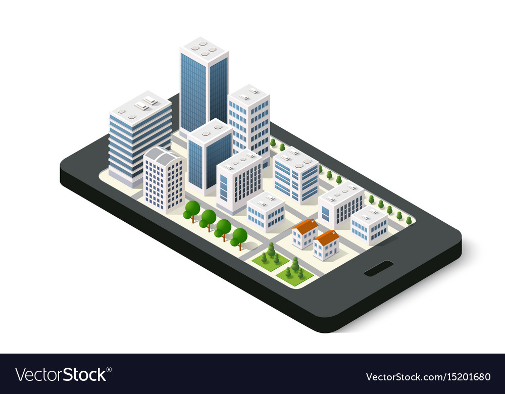 Isometric 3d navigation sign on mobile phone city