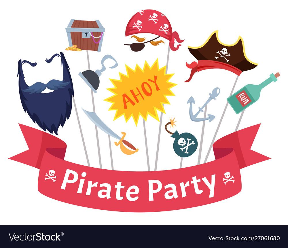 Party mask pirate hats beard hairs hook bandanas
