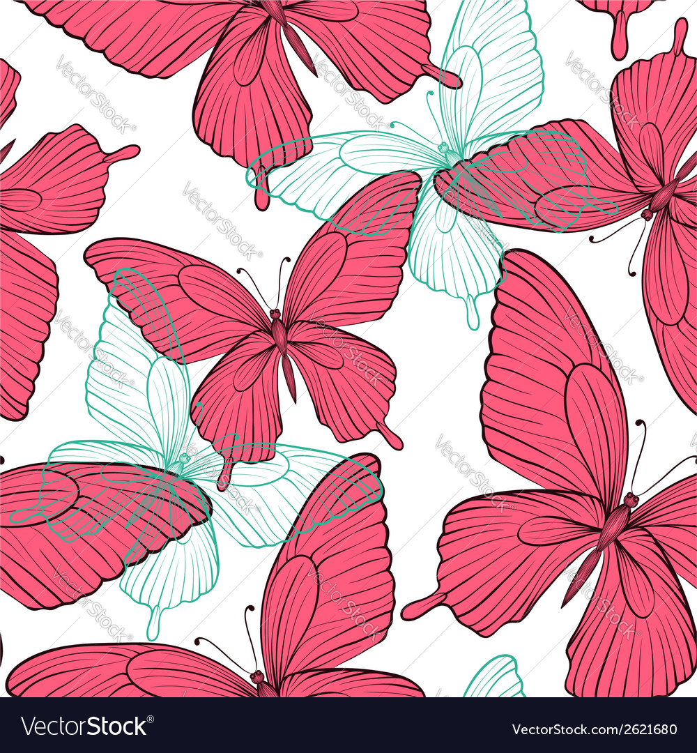 Seamless background with bright colorful butterfli vector image