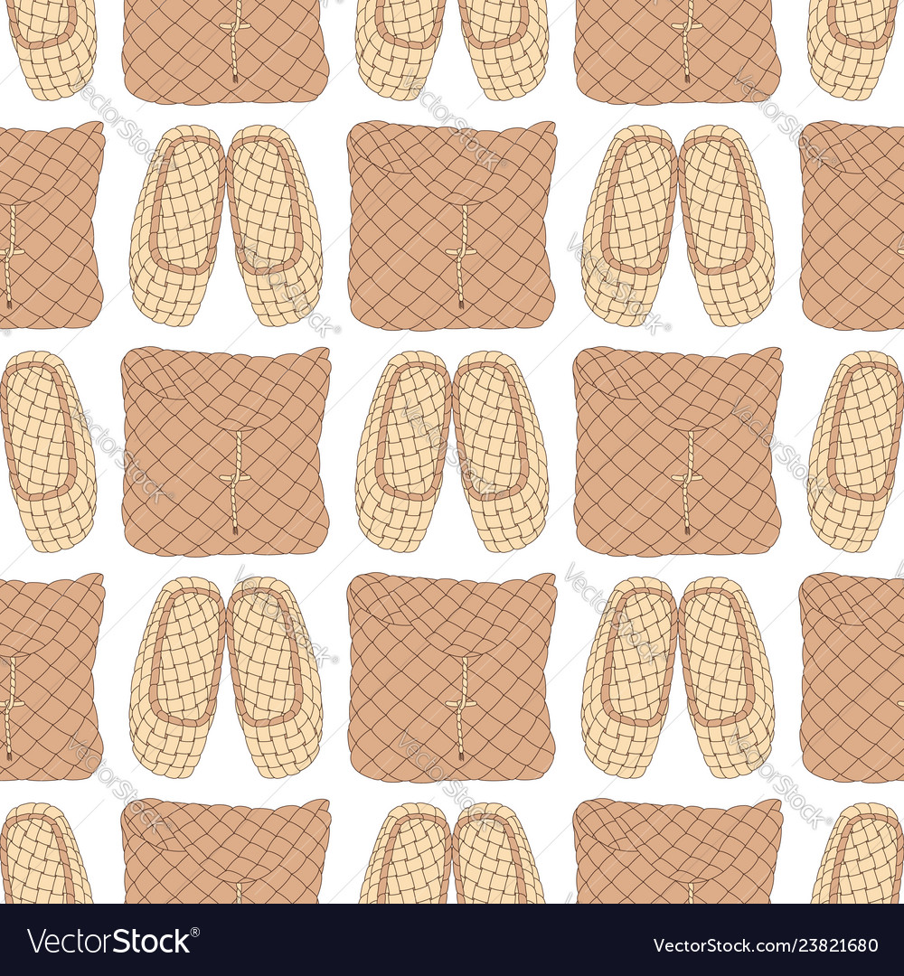 Seamless pattern with old russian bast shoes and
