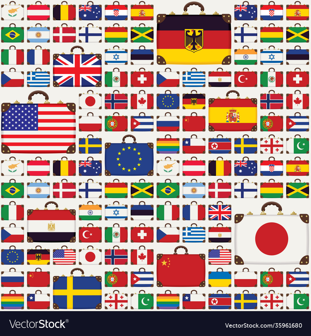 Seamless pattern with travel suitcases and flags