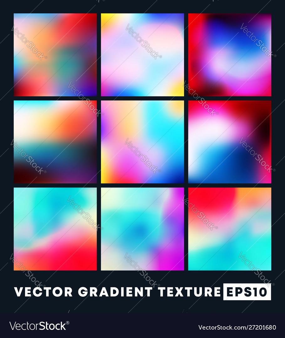 Set colorful gradient texture pattern