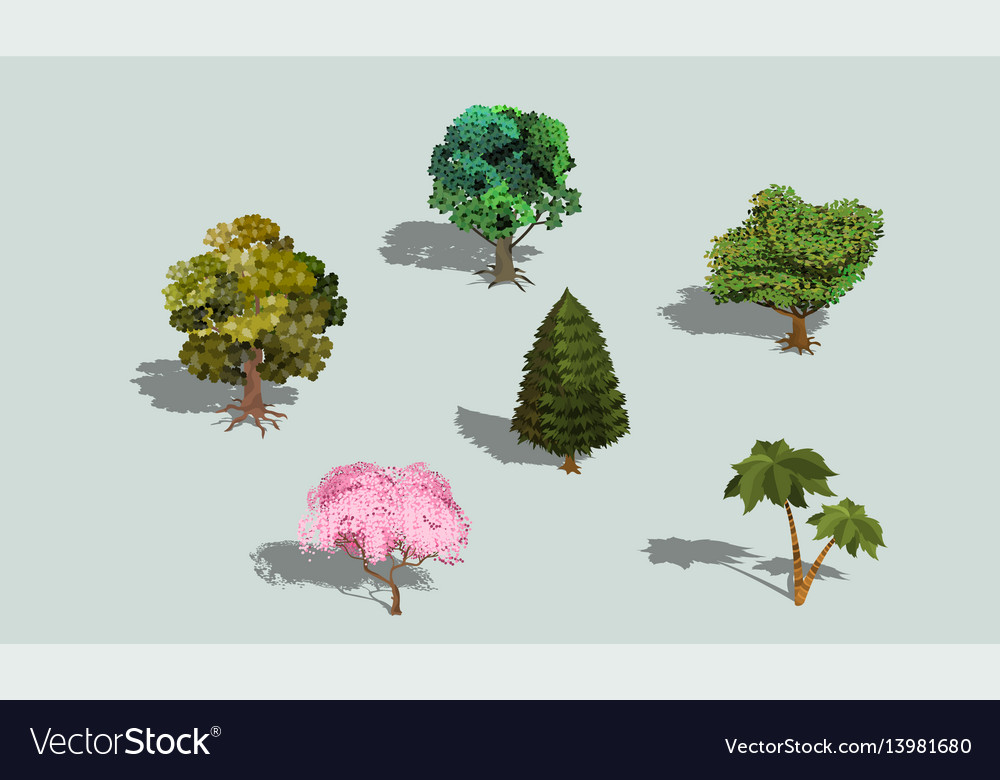 Set of 3d isometric trees with shadow vector image