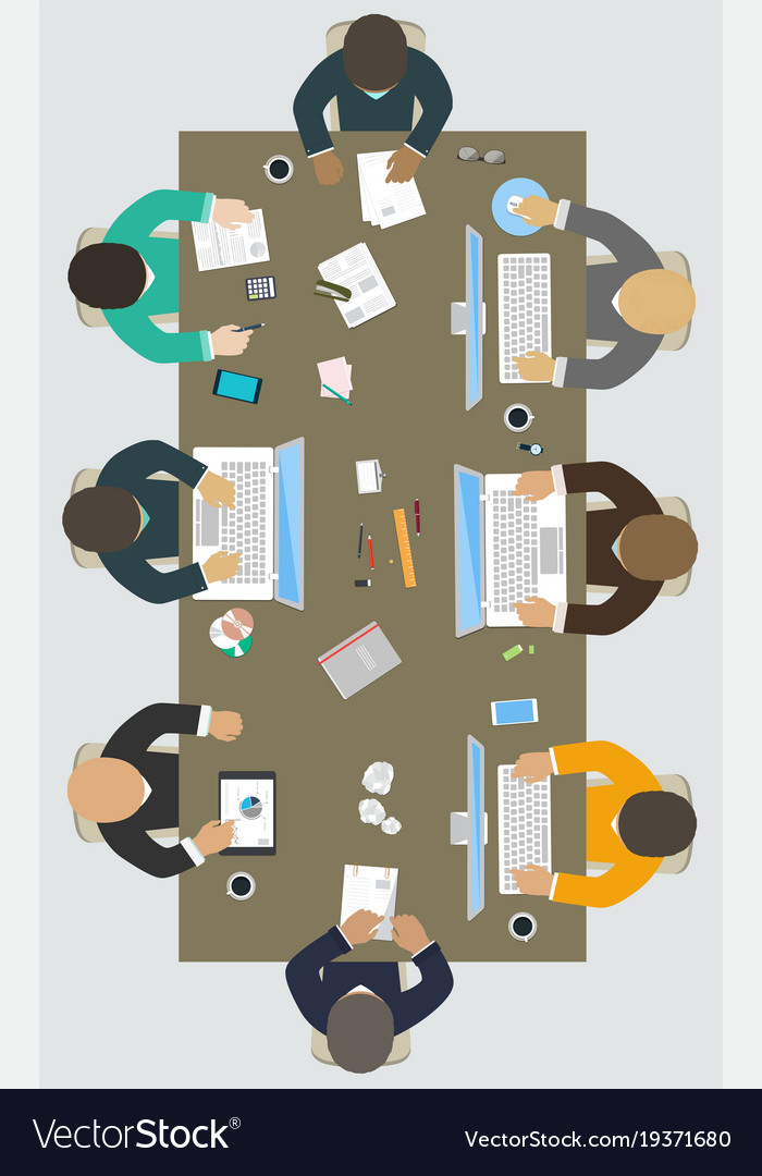 Teamwork for office desk business strategy new