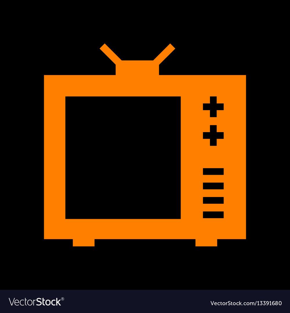 Tv sign orange icon on black vector image
