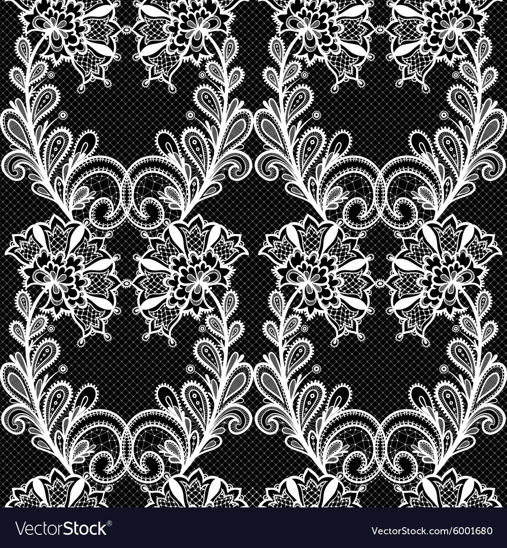 White lace seamless pattern on black background