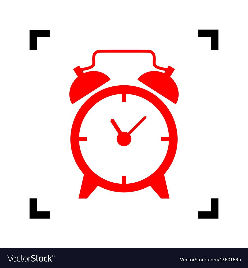 Alarm Clock Sign Red Icon Inside Black Vector Image