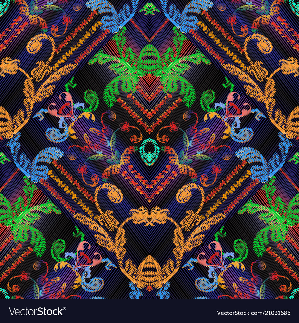 Baroque striped floral embroidery seamless pattern