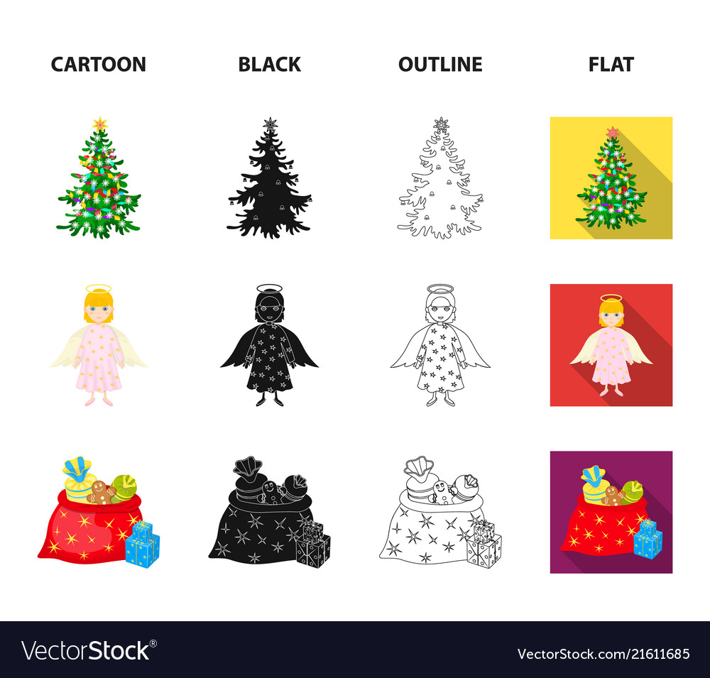 Christmas Tree Angel Gifts And Holly Cartoon Vector Image