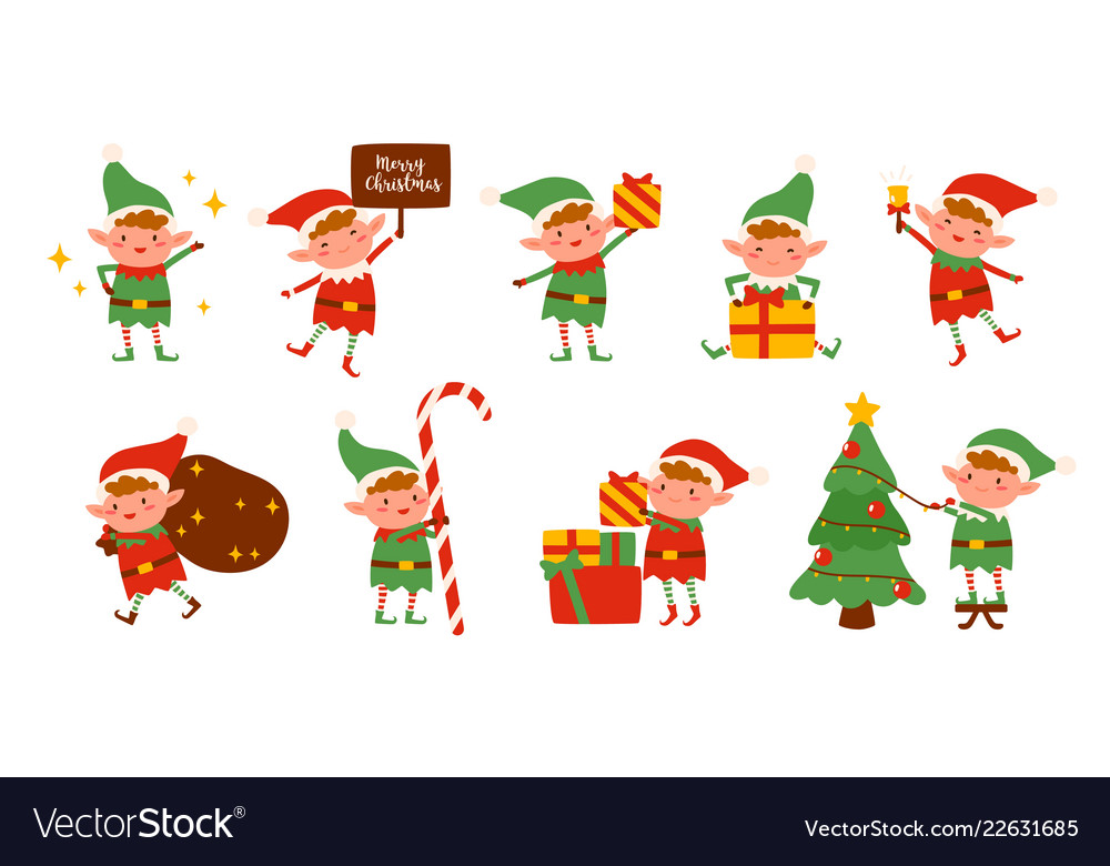Christmas Elves.Collection Of Christmas Elves Isolated On White