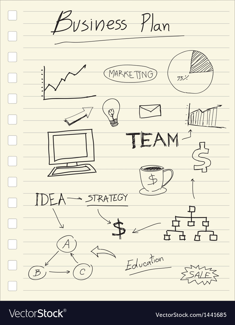 Drawing business plan concept on paper note